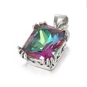 ❤️gorgeous 925 silver mystic rainbow topaz necklac